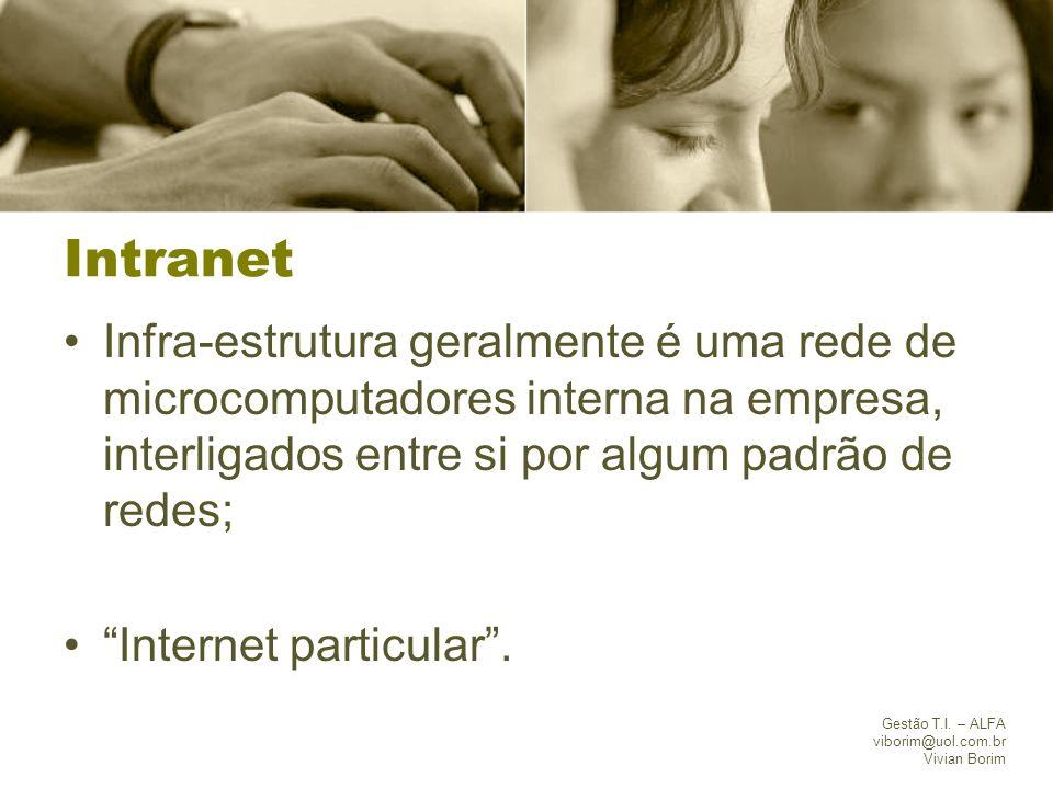 Gestão T.I. – ALFA viborim@uol.com.br Vivian Borim Intranet Infra-estrutura geralmente é uma rede de microcomputadores interna na empresa, interligado
