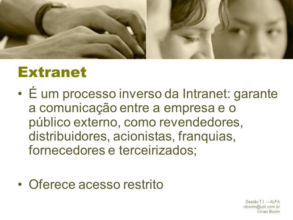 Gestão T.I. – ALFA viborim@uol.com.br Vivian Borim Extranet É um processo inverso da Intranet: garante a comunicação entre a empresa e o público exter