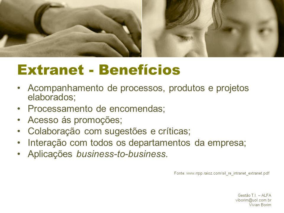Gestão T.I. – ALFA viborim@uol.com.br Vivian Borim Extranet - Benefícios Acompanhamento de processos, produtos e projetos elaborados; Processamento de