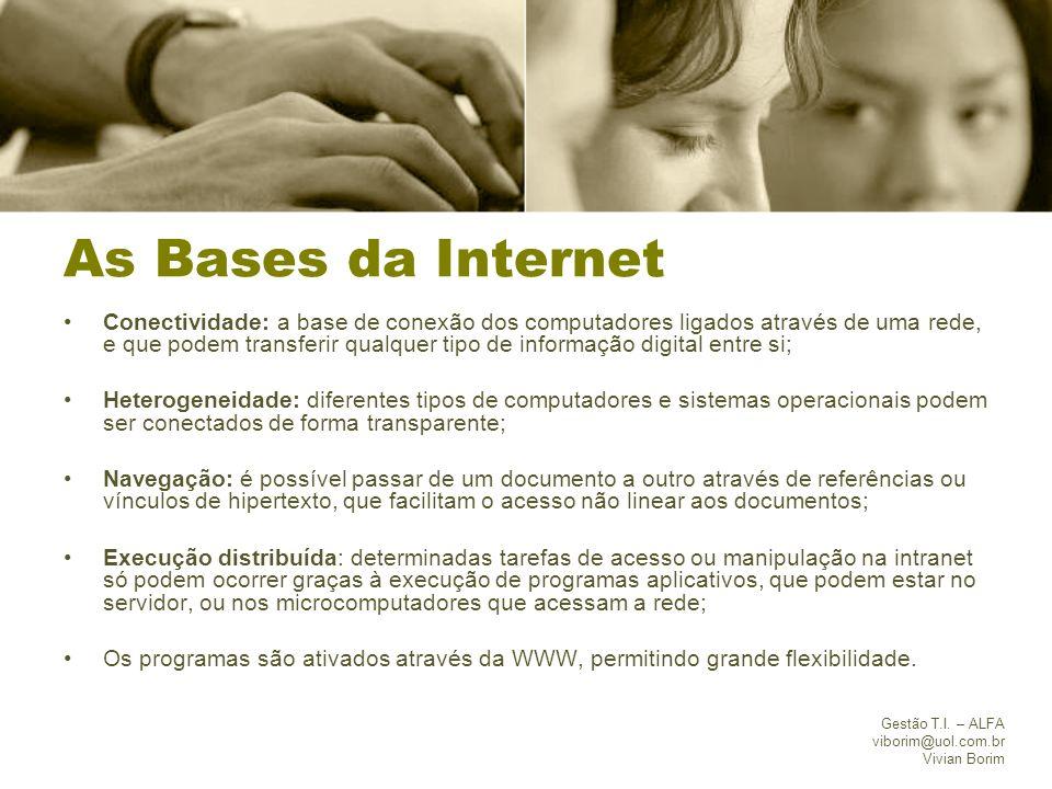 Gestão T.I. – ALFA viborim@uol.com.br Vivian Borim As Bases da Internet Conectividade: a base de conexão dos computadores ligados através de uma rede,