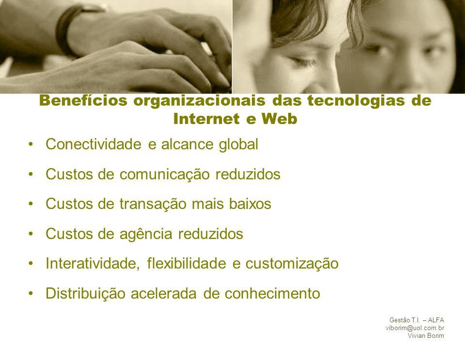 Gestão T.I. – ALFA viborim@uol.com.br Vivian Borim Benefícios organizacionais das tecnologias de Internet e Web Conectividade e alcance global Custos