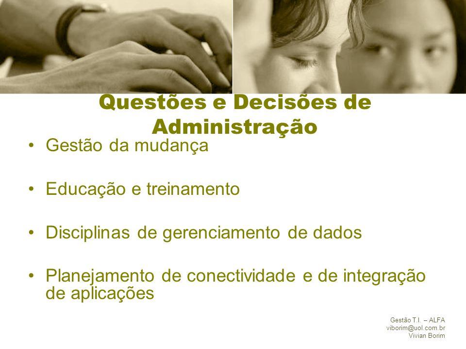 Gestão T.I. – ALFA viborim@uol.com.br Vivian Borim Questões e Decisões de Administração Gestão da mudança Educação e treinamento Disciplinas de gerenc