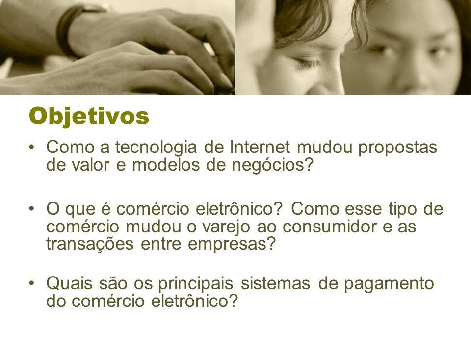 Objetivos Como a tecnologia de Internet mudou propostas de valor e modelos de negócios? O que é comércio eletrônico? Como esse tipo de comércio mudou