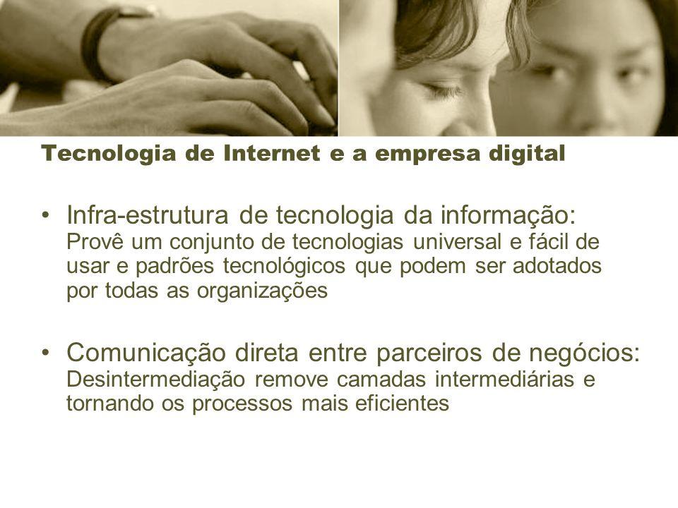 Tecnologia de Internet e a empresa digital Infra-estrutura de tecnologia da informação: Provê um conjunto de tecnologias universal e fácil de usar e p