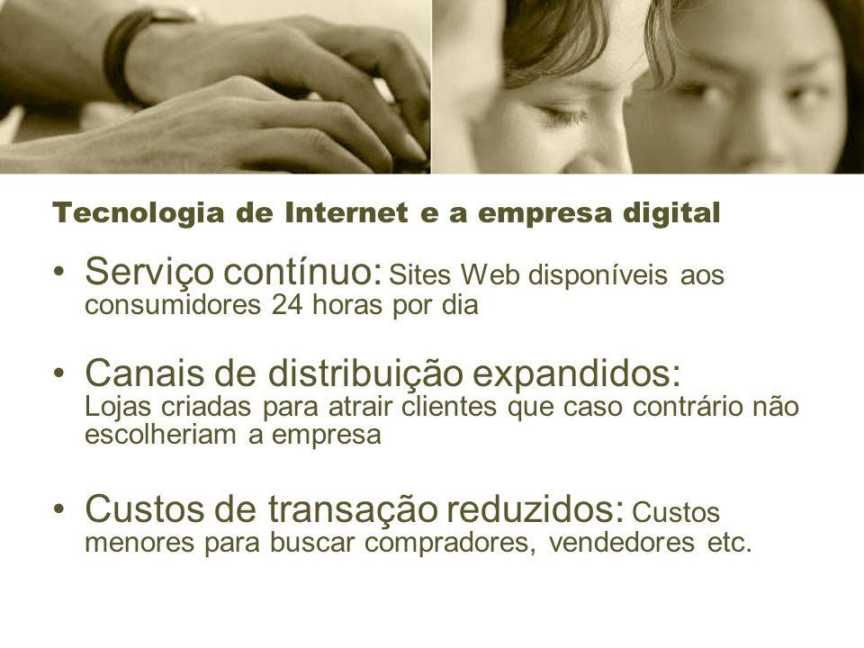 Tecnologia de Internet e a empresa digital Serviço contínuo: Sites Web disponíveis aos consumidores 24 horas por dia Canais de distribuição expandidos