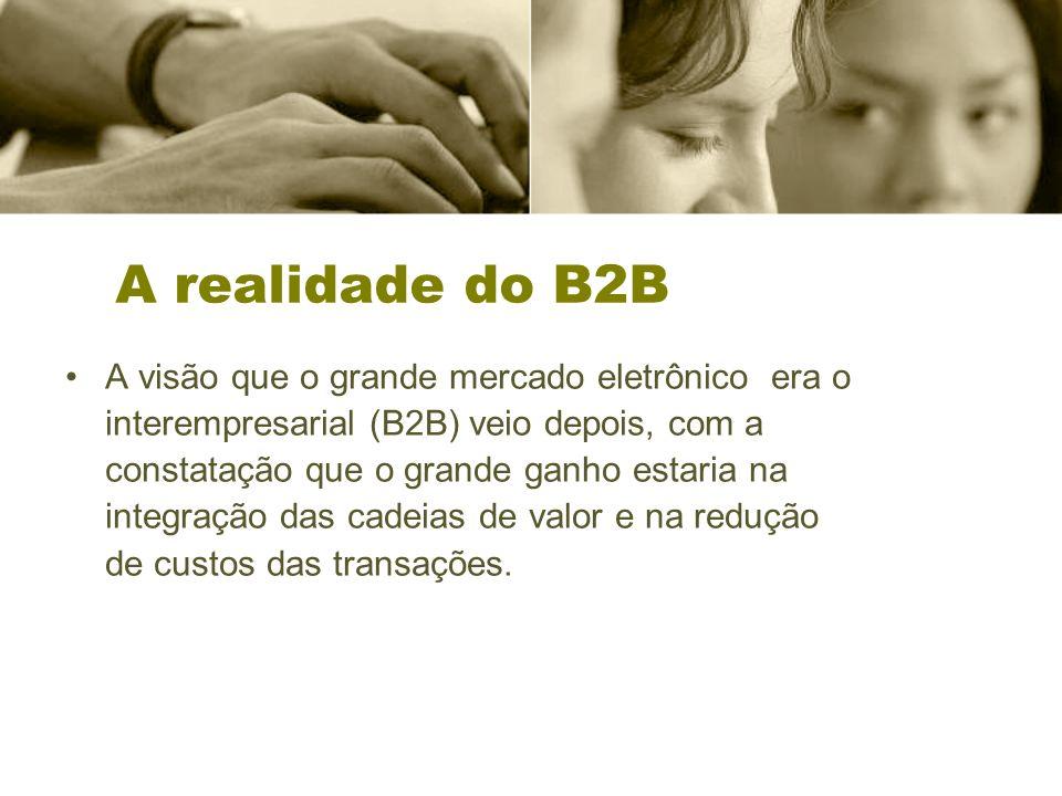 A realidade do B2B A visão que o grande mercado eletrônico era o interempresarial (B2B) veio depois, com a constatação que o grande ganho estaria na integração das cadeias de valor e na redução de custos das transações.