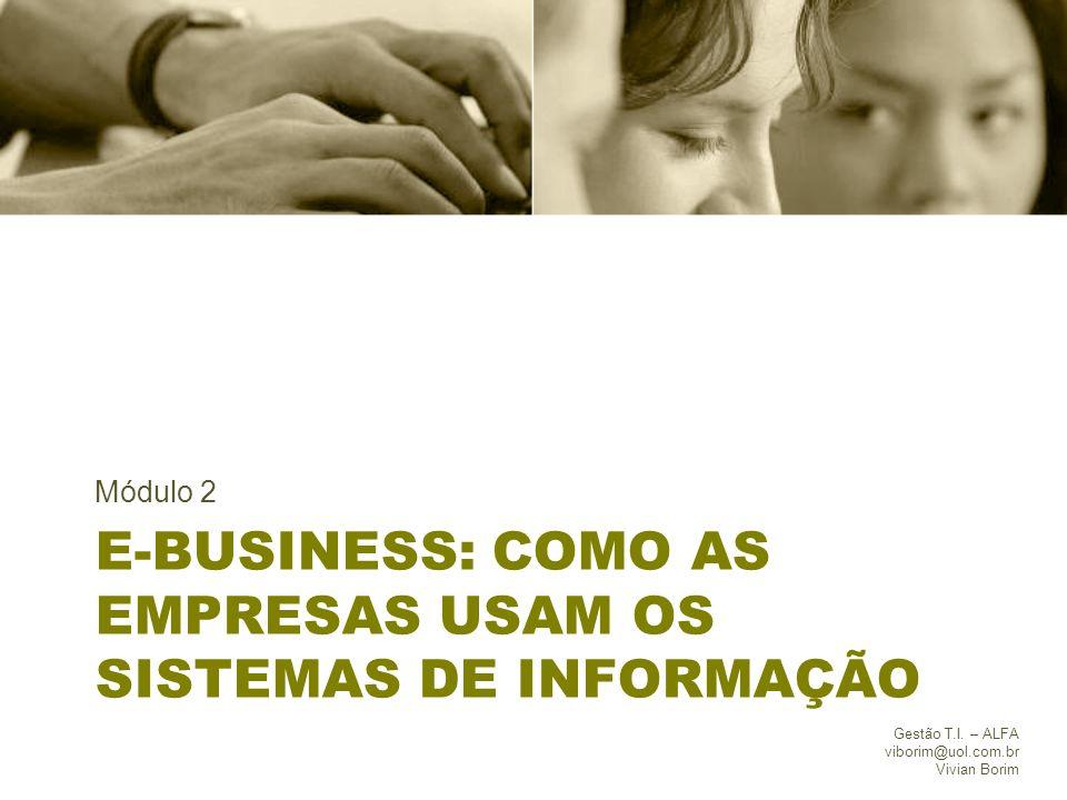E-BUSINESS: COMO AS EMPRESAS USAM OS SISTEMAS DE INFORMAÇÃO Módulo 2 Gestão T.I. – ALFA viborim@uol.com.br Vivian Borim