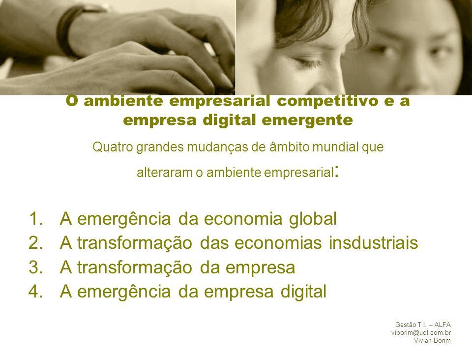 Gestão T.I. – ALFA viborim@uol.com.br Vivian Borim O ambiente empresarial competitivo e a empresa digital emergente Quatro grandes mudanças de âmbito