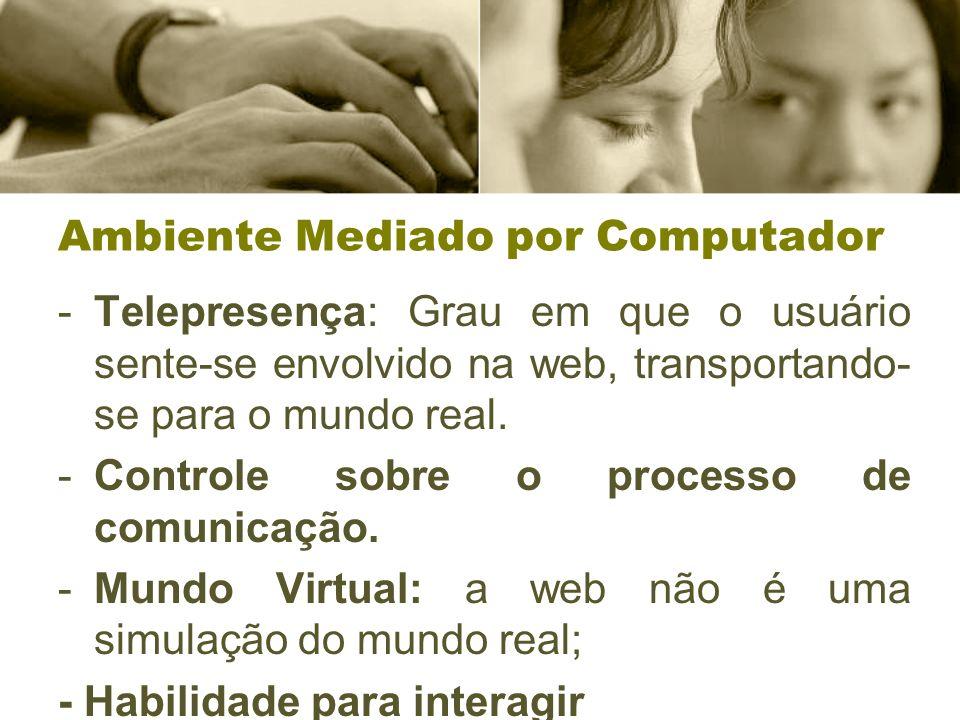 Ambiente Mediado por Computador -Telepresença: Grau em que o usuário sente-se envolvido na web, transportando- se para o mundo real. -Controle sobre o