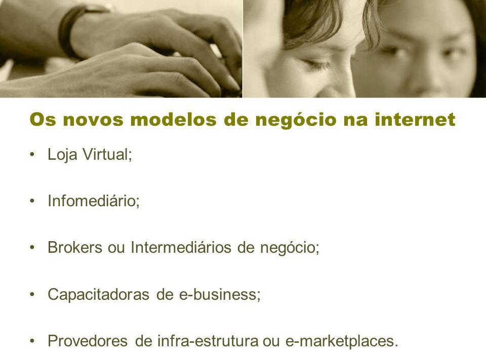 Os novos modelos de negócio na internet Loja Virtual; Infomediário; Brokers ou Intermediários de negócio; Capacitadoras de e-business; Provedores de infra-estrutura ou e-marketplaces.