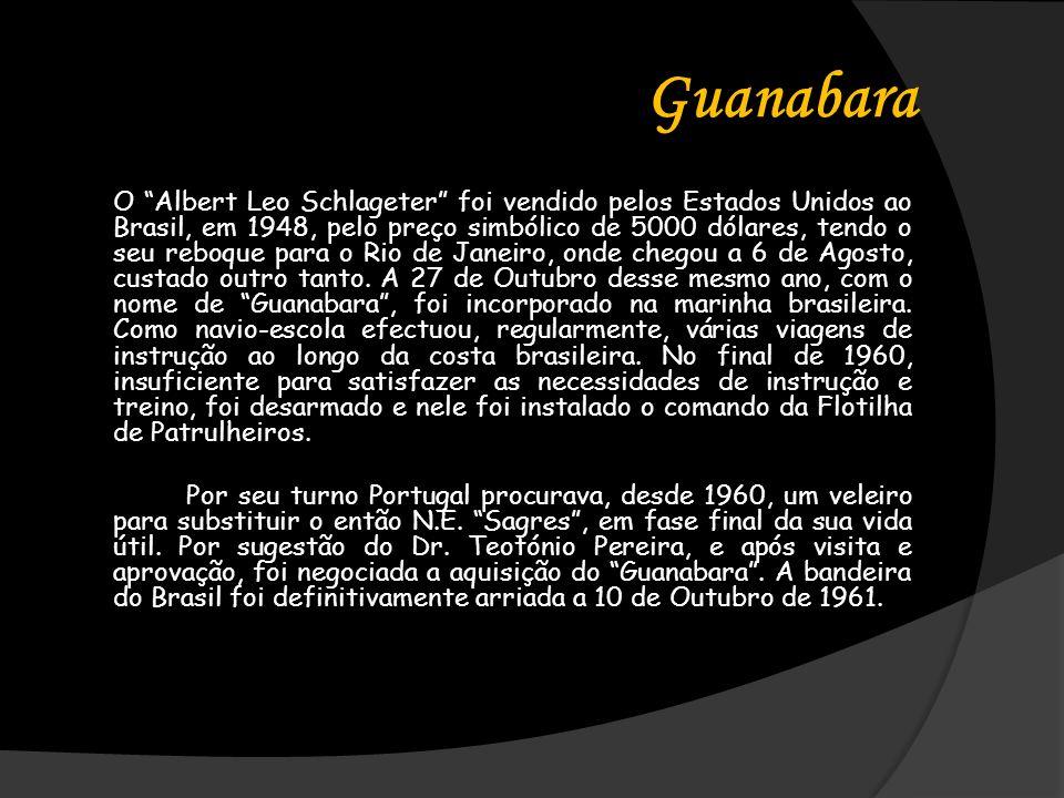 Guanabara O Albert Leo Schlageter foi vendido pelos Estados Unidos ao Brasil, em 1948, pelo preço simbólico de 5000 dólares, tendo o seu reboque para o Rio de Janeiro, onde chegou a 6 de Agosto, custado outro tanto.