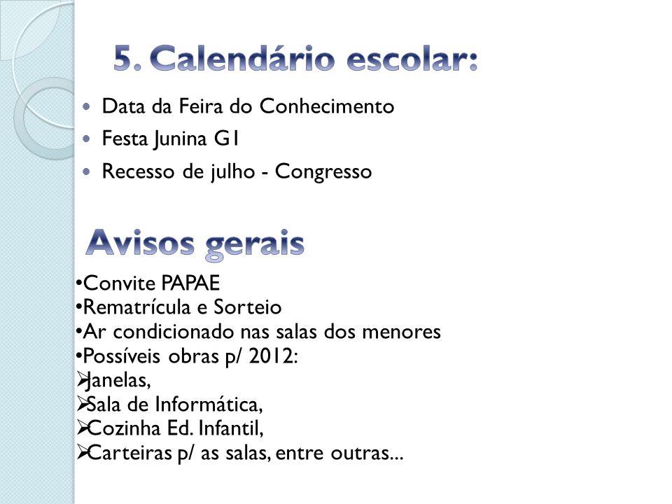 Data da Feira do Conhecimento Festa Junina G1 Recesso de julho - Congresso Convite PAPAE Rematrícula e Sorteio Ar condicionado nas salas dos menores P