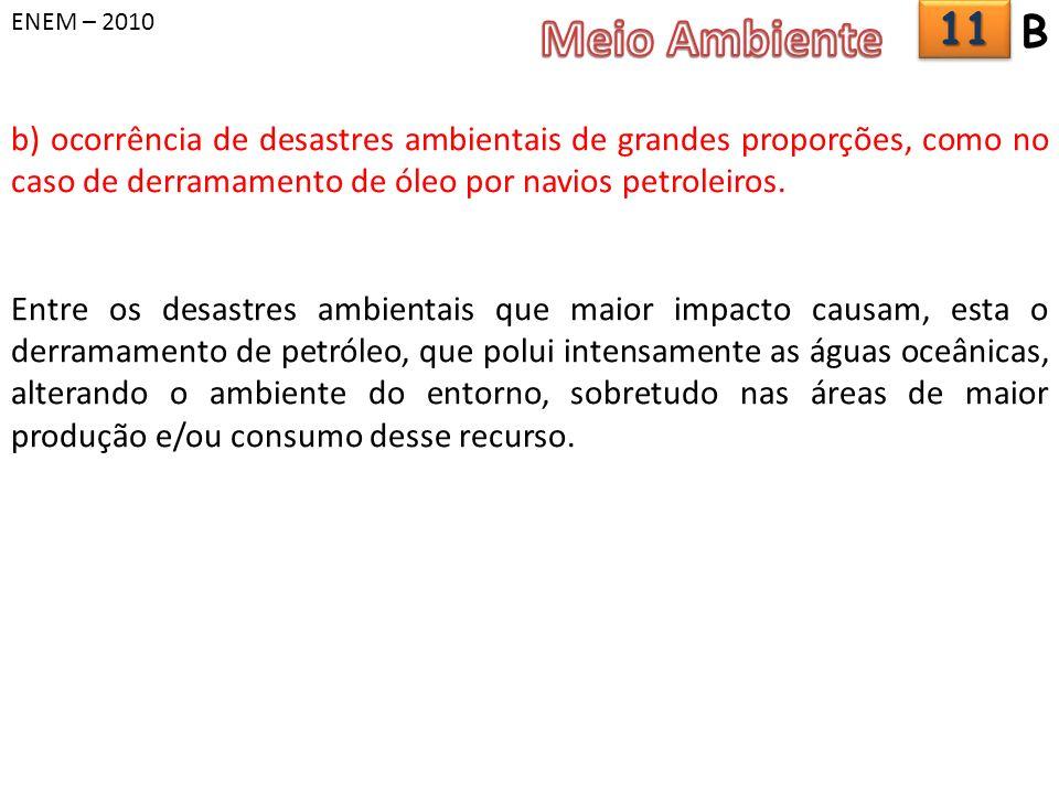 ENEM – 2010 b) ocorrência de desastres ambientais de grandes proporções, como no caso de derramamento de óleo por navios petroleiros. Entre os desastr