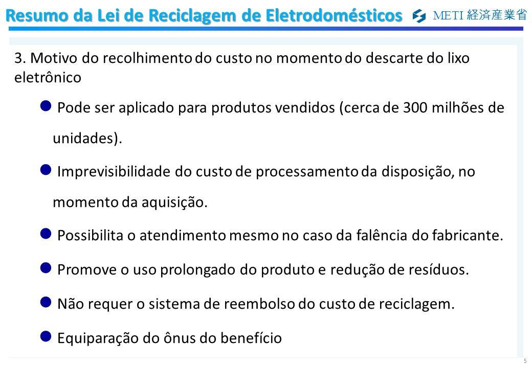 METI 5 3. Motivo do recolhimento do custo no momento do descarte do lixo eletrônico Pode ser aplicado para produtos vendidos (cerca de 300 milhões de