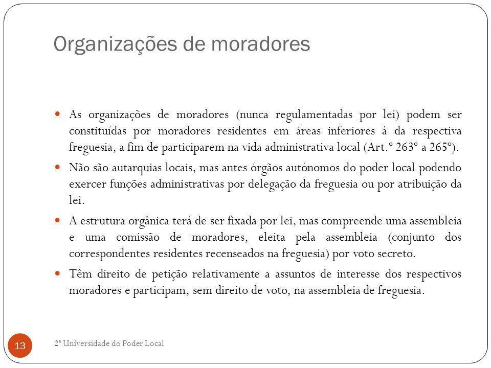 Organizações de moradores As organizações de moradores (nunca regulamentadas por lei) podem ser constituídas por moradores residentes em áreas inferio