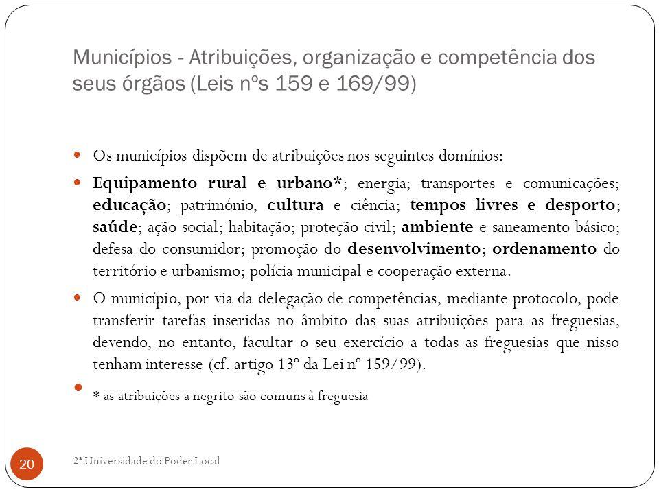 Municípios - Atribuições, organização e competência dos seus órgãos (Leis nºs 159 e 169/99) Os municípios dispõem de atribuições nos seguintes domínio