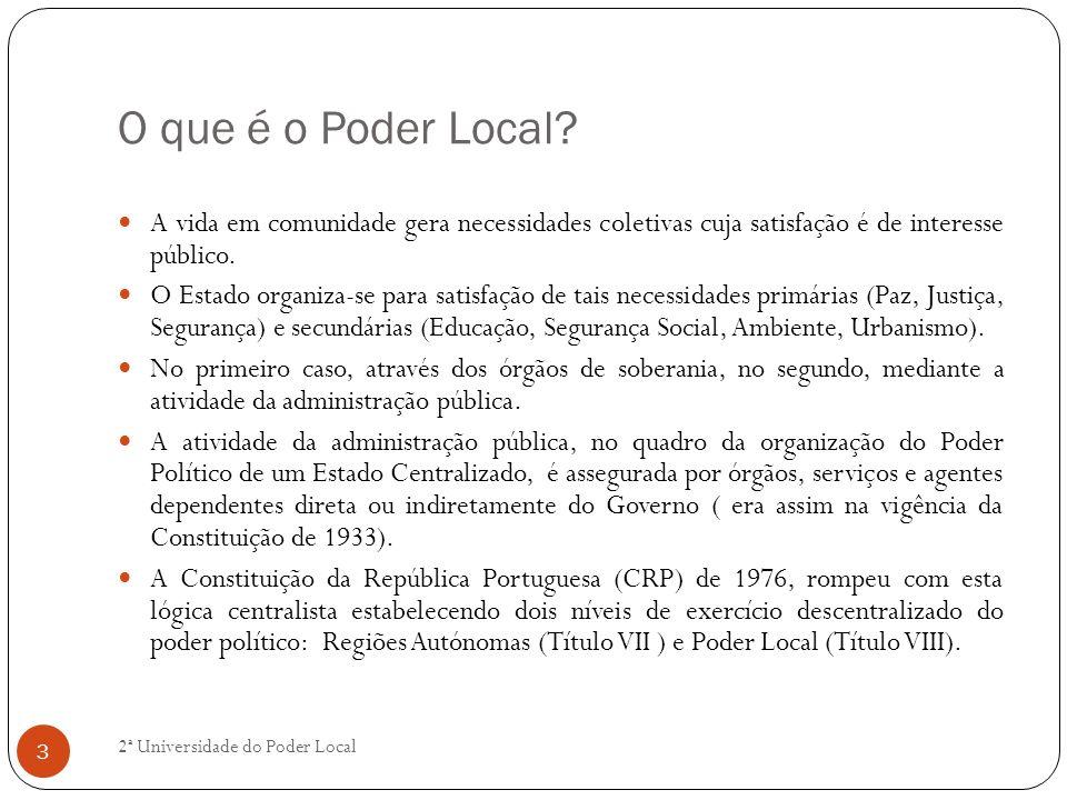 O que é o Poder Local? A vida em comunidade gera necessidades coletivas cuja satisfação é de interesse público. O Estado organiza-se para satisfação d