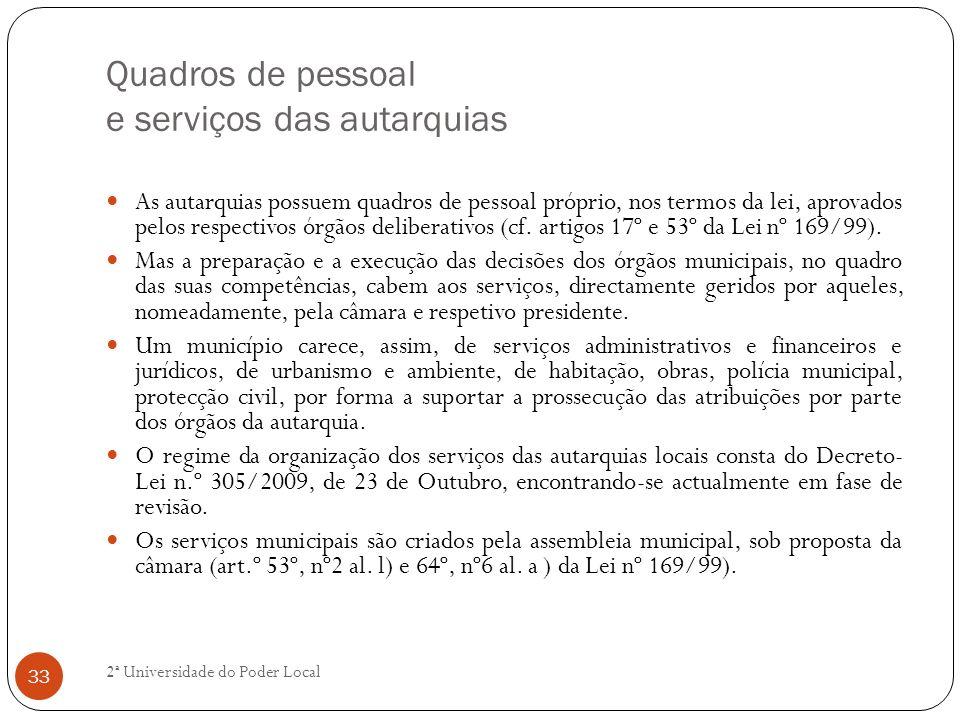 Quadros de pessoal e serviços das autarquias As autarquias possuem quadros de pessoal próprio, nos termos da lei, aprovados pelos respectivos órgãos d