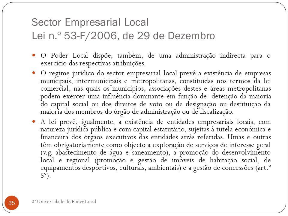 Sector Empresarial Local Lei n.º 53-F/2006, de 29 de Dezembro O Poder Local dispõe, também, de uma administração indirecta para o exercício das respec