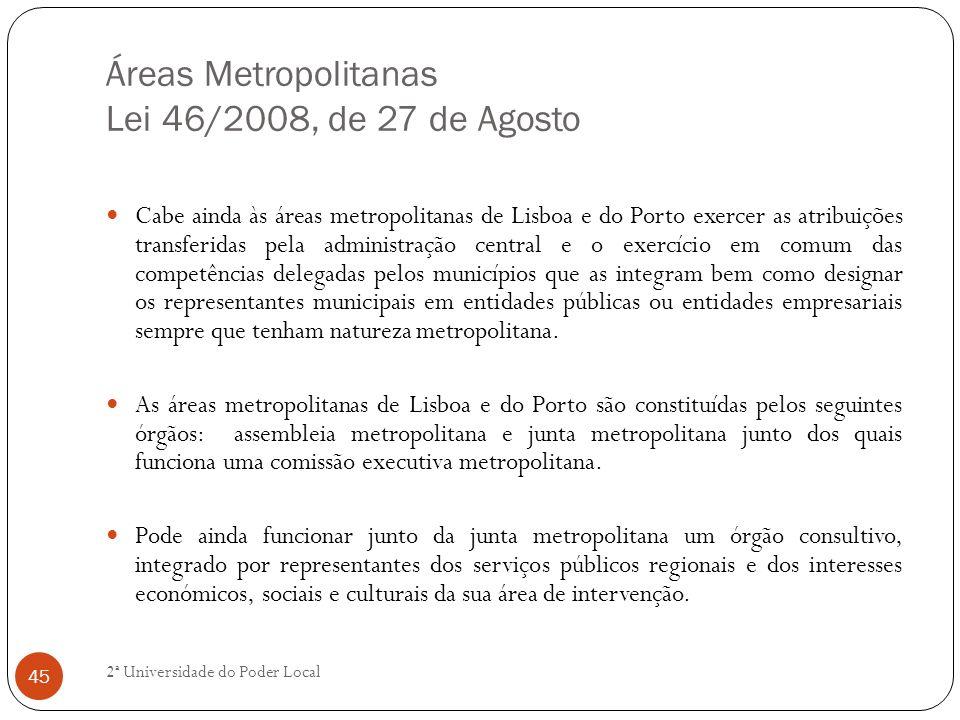 Áreas Metropolitanas Lei 46/2008, de 27 de Agosto Cabe ainda às áreas metropolitanas de Lisboa e do Porto exercer as atribuições transferidas pela adm