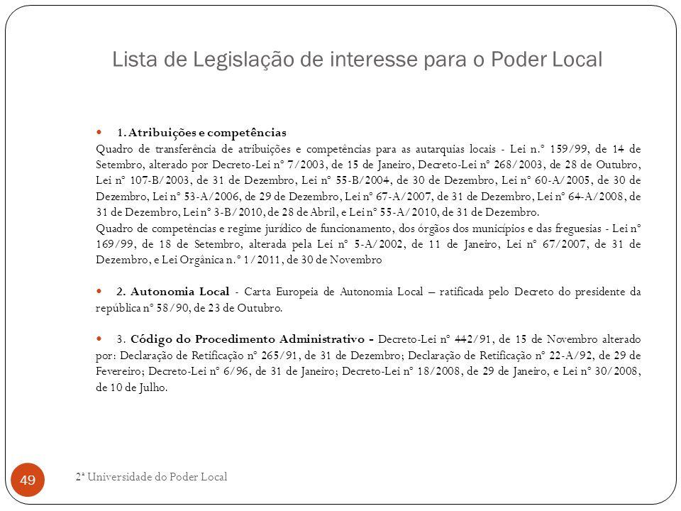 Lista de Legislação de interesse para o Poder Local 1. Atribuições e competências Quadro de transferência de atribuições e competências para as autarq