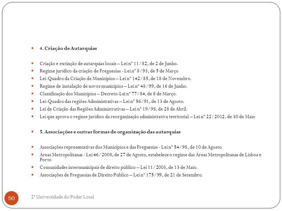 4. Criação de Autarquias Criação e extinção de autarquias locais – Lei nº 11/82, de 2 de Junho. Regime jurídico da criação de Freguesias - Lei nº 8/93