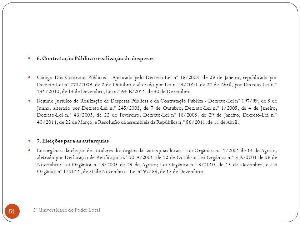 6. Contratação Pública e realização de despesas Código Dos Contratos Públicos - Aprovado pelo Decreto-Lei nº 18/2008, de 29 de Janeiro, republicado po