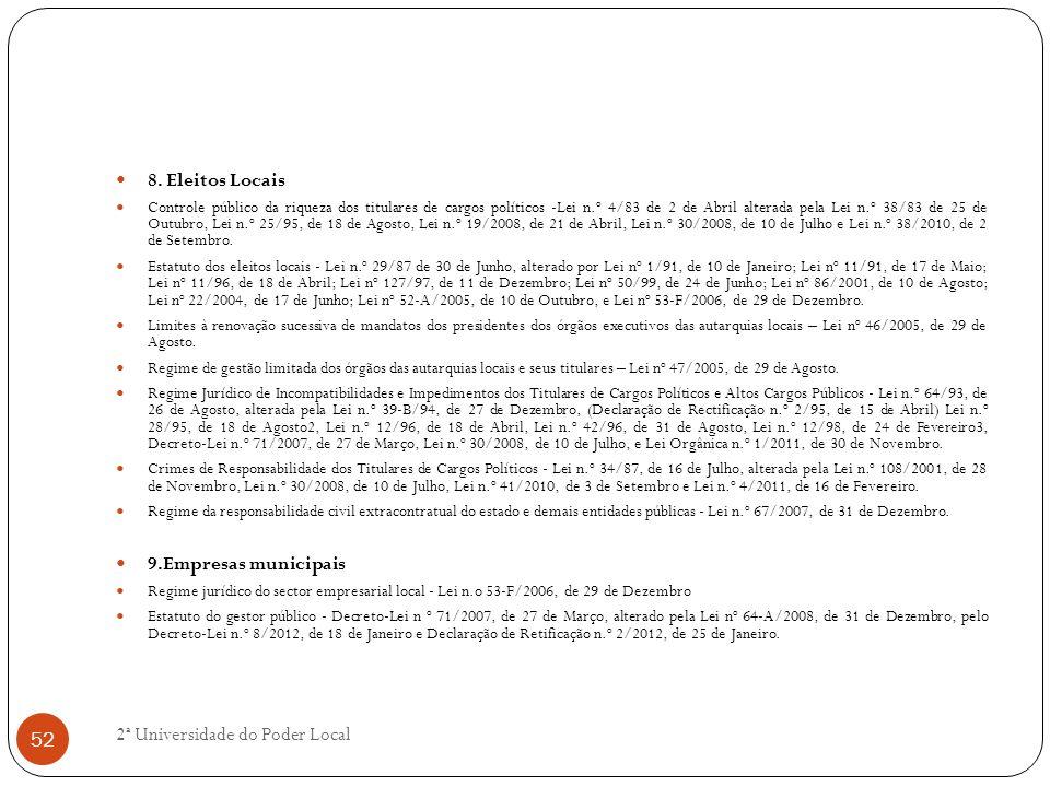 8. Eleitos Locais Controle público da riqueza dos titulares de cargos políticos -Lei n.º 4/83 de 2 de Abril alterada pela Lei n.º 38/83 de 25 de Outub