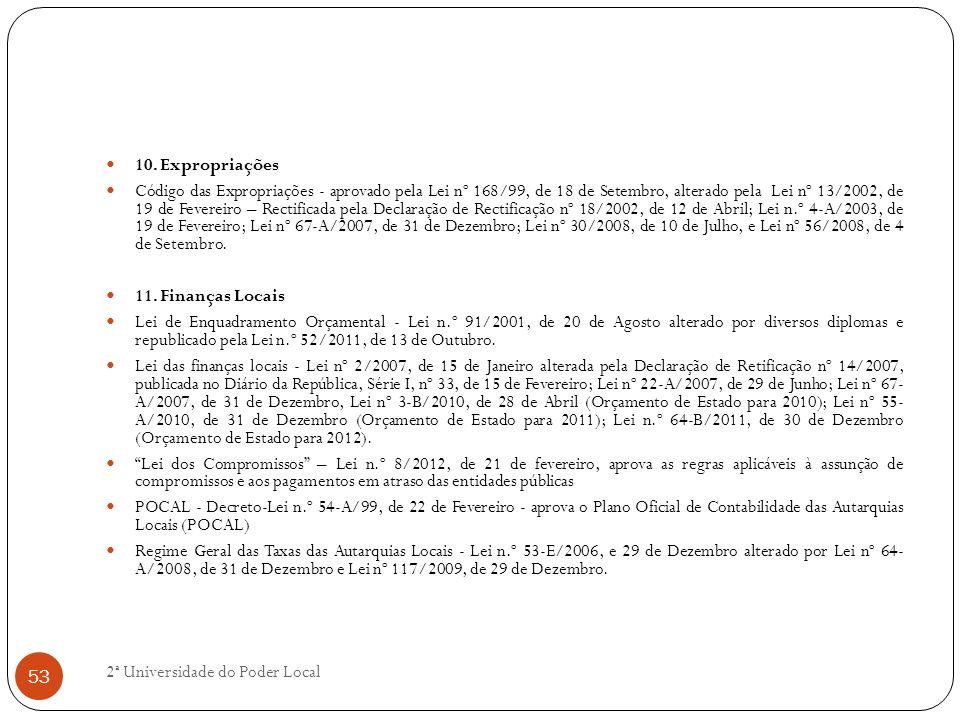 10. Expropriações Código das Expropriações - aprovado pela Lei nº 168/99, de 18 de Setembro, alterado pela Lei nº 13/2002, de 19 de Fevereiro – Rectif