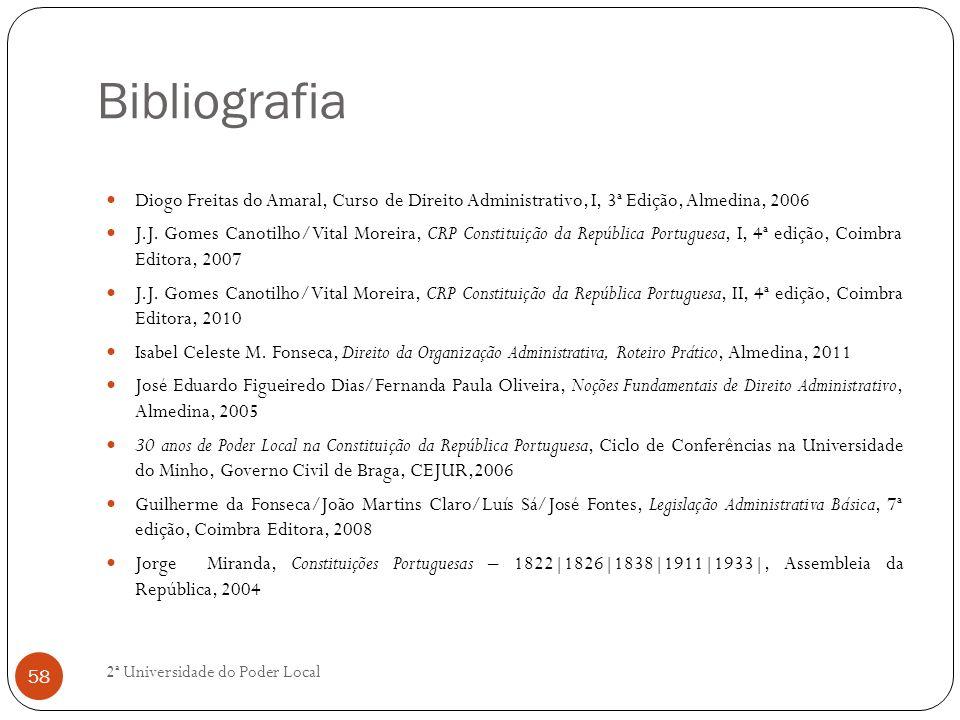 Bibliografia Diogo Freitas do Amaral, Curso de Direito Administrativo, I, 3ª Edição, Almedina, 2006 J.J. Gomes Canotilho/Vital Moreira, CRP Constituiç