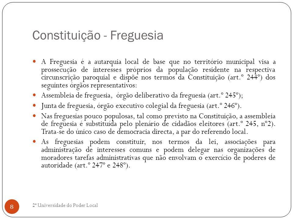 Constituição - Freguesia A Freguesia é a autarquia local de base que no território municipal visa a prossecução de interesses próprios da população re
