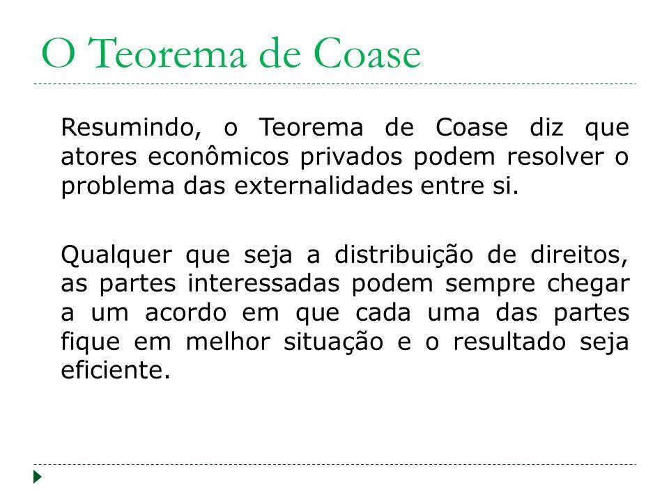 O Teorema de Coase Resumindo, o Teorema de Coase diz que atores econômicos privados podem resolver o problema das externalidades entre si. Qualquer qu