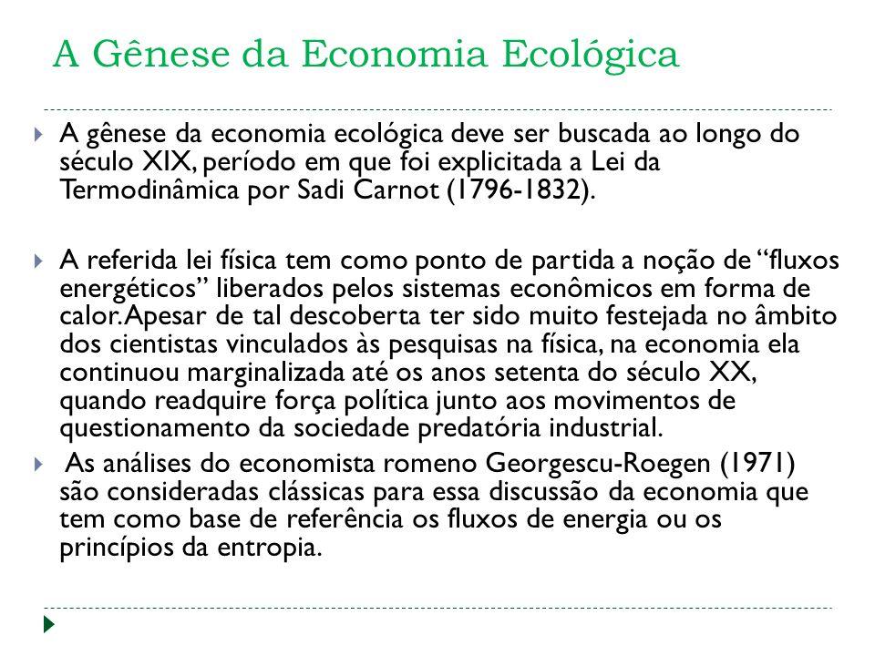 A Gênese da Economia Ecológica A gênese da economia ecológica deve ser buscada ao longo do século XIX, período em que foi explicitada a Lei da Termodinâmica por Sadi Carnot (1796-1832).