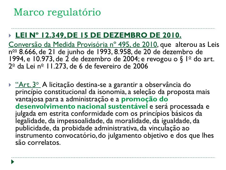 Marco regulatório LEI Nº 12.349, DE 15 DE DEZEMBRO DE 2010. Conversão da Medida Provisória nº 495, de 2010Conversão da Medida Provisória nº 495, de 20