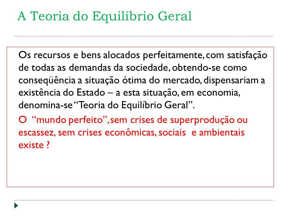 A Teoria do Equilíbrio Geral Os recursos e bens alocados perfeitamente, com satisfação de todas as demandas da sociedade, obtendo-se como conseqüência
