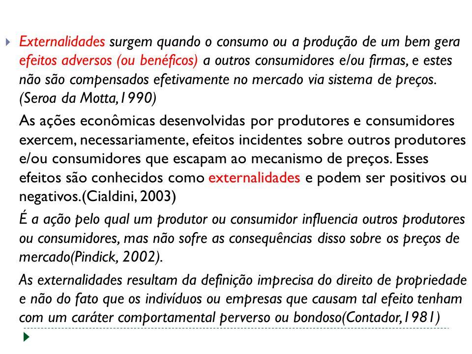 Externalidades surgem quando o consumo ou a produção de um bem gera efeitos adversos (ou benéficos) a outros consumidores e/ou firmas, e estes não são compensados efetivamente no mercado via sistema de preços.