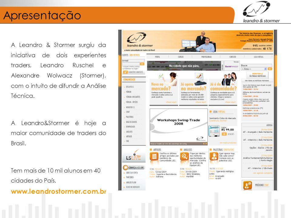 Apresentação A Leandro & Stormer surgiu da iniciativa de dois experientes traders, Leandro Ruschel e Alexandre Wolwacz (Stormer), com o intuito de difundir a Análise Técnica.
