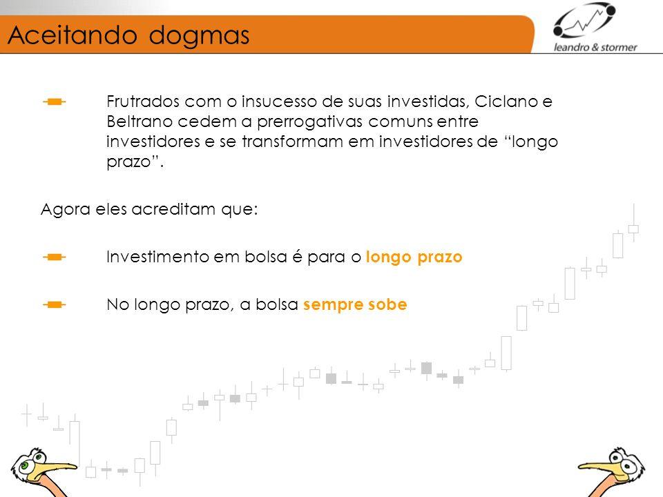 Aceitando dogmas Frutrados com o insucesso de suas investidas, Ciclano e Beltrano cedem a prerrogativas comuns entre investidores e se transformam em investidores de longo prazo.