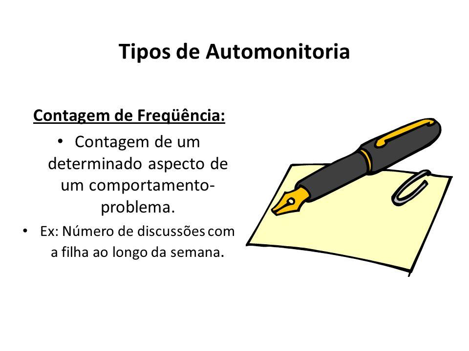 Tipos de Automonitoria Contagem de Freqüência: Contagem de um determinado aspecto de um comportamento- problema. Ex: Número de discussões com a filha