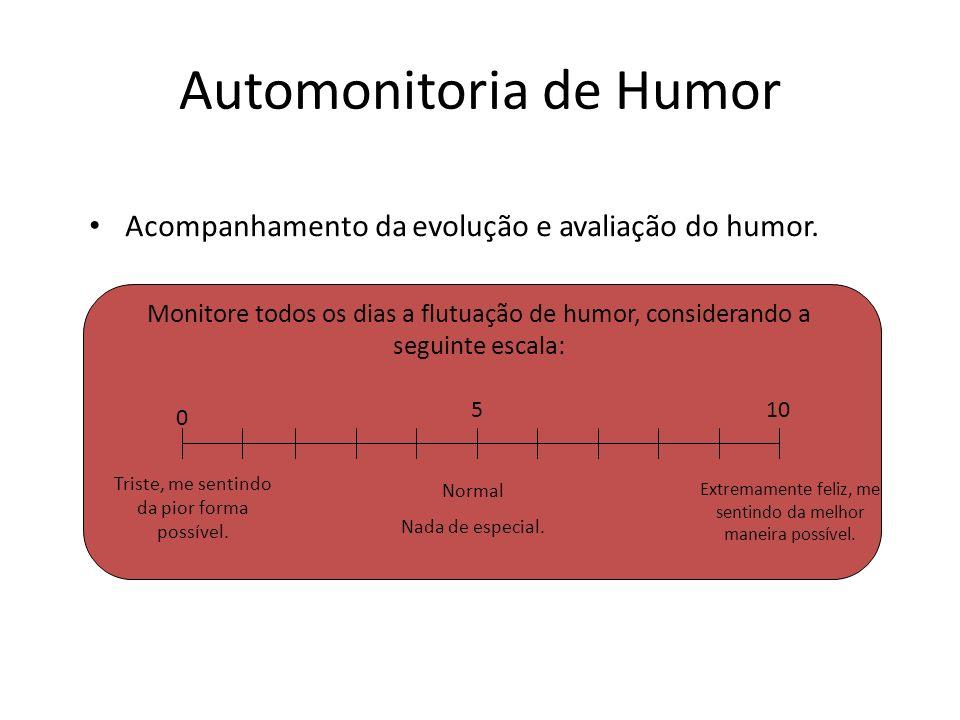Automonitoria de Humor Acompanhamento da evolução e avaliação do humor. 0 510 Triste, me sentindo da pior forma possível. Normal Nada de especial. Ext