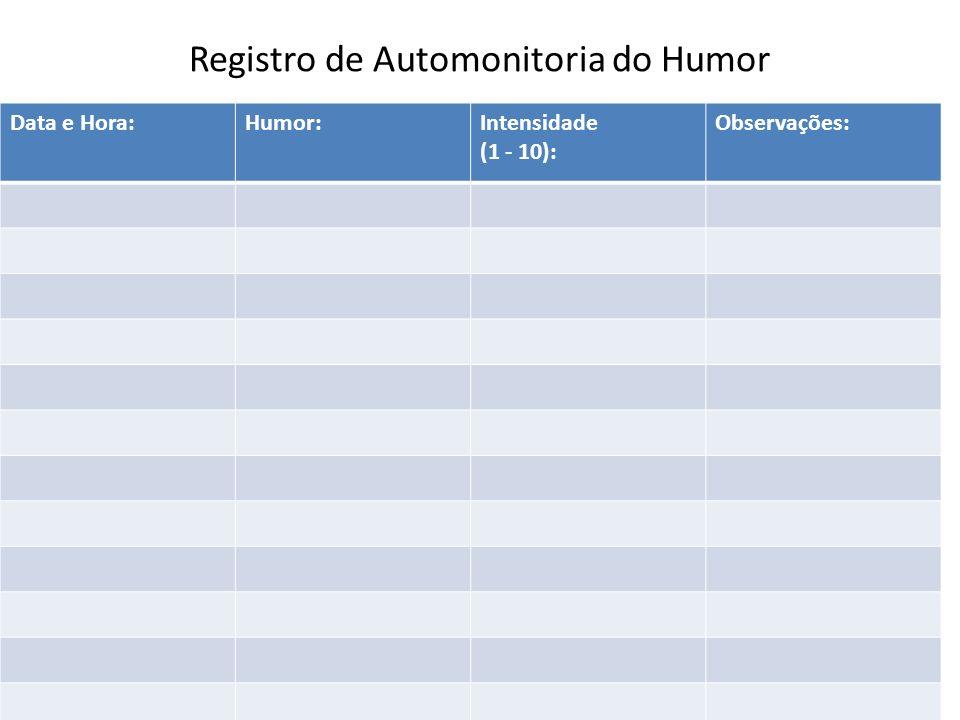 Registro de Automonitoria do Humor Data e Hora:Humor:Intensidade (1 - 10): Observações: