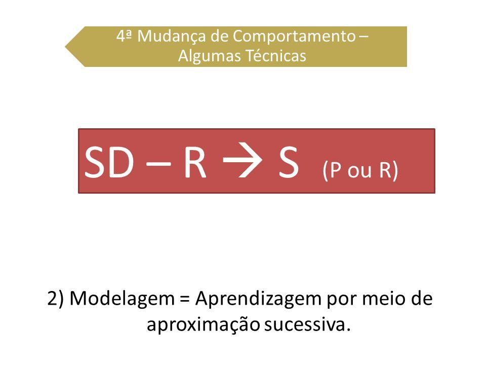 2) Modelagem = Aprendizagem por meio de aproximação sucessiva. 4ª Mudança de Comportamento – Algumas Técnicas SD – R S (P ou R)