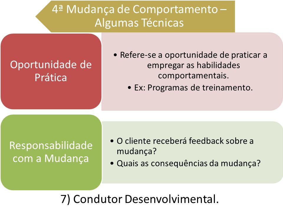 7) Condutor Desenvolvimental. 4ª Mudança de Comportamento – Algumas Técnicas Refere-se a oportunidade de praticar a empregar as habilidades comportame