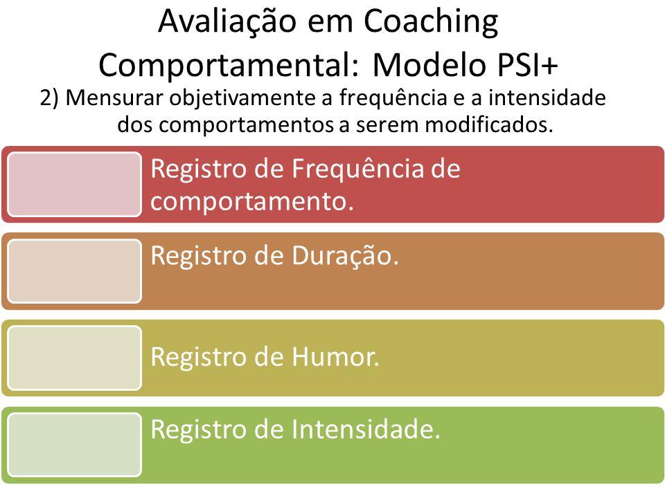 2) Mensurar objetivamente a frequência e a intensidade dos comportamentos a serem modificados. Avaliação em Coaching Comportamental: Modelo PSI+ Regis