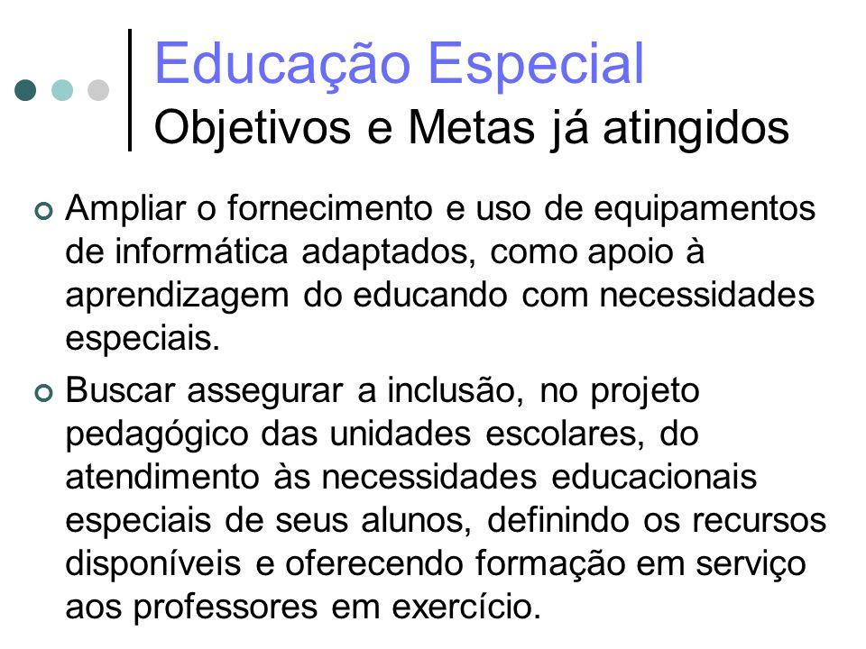 Educação Especial Objetivos e Metas já atingidos Ampliar o fornecimento e uso de equipamentos de informática adaptados, como apoio à aprendizagem do e