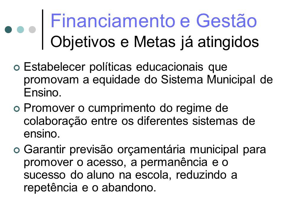 Financiamento e Gestão Objetivos e Metas já atingidos Estabelecer políticas educacionais que promovam a equidade do Sistema Municipal de Ensino. Promo