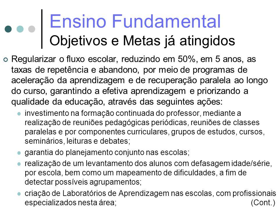 Ensino Fundamental Objetivos e Metas já atingidos Regularizar o fluxo escolar, reduzindo em 50%, em 5 anos, as taxas de repetência e abandono, por mei