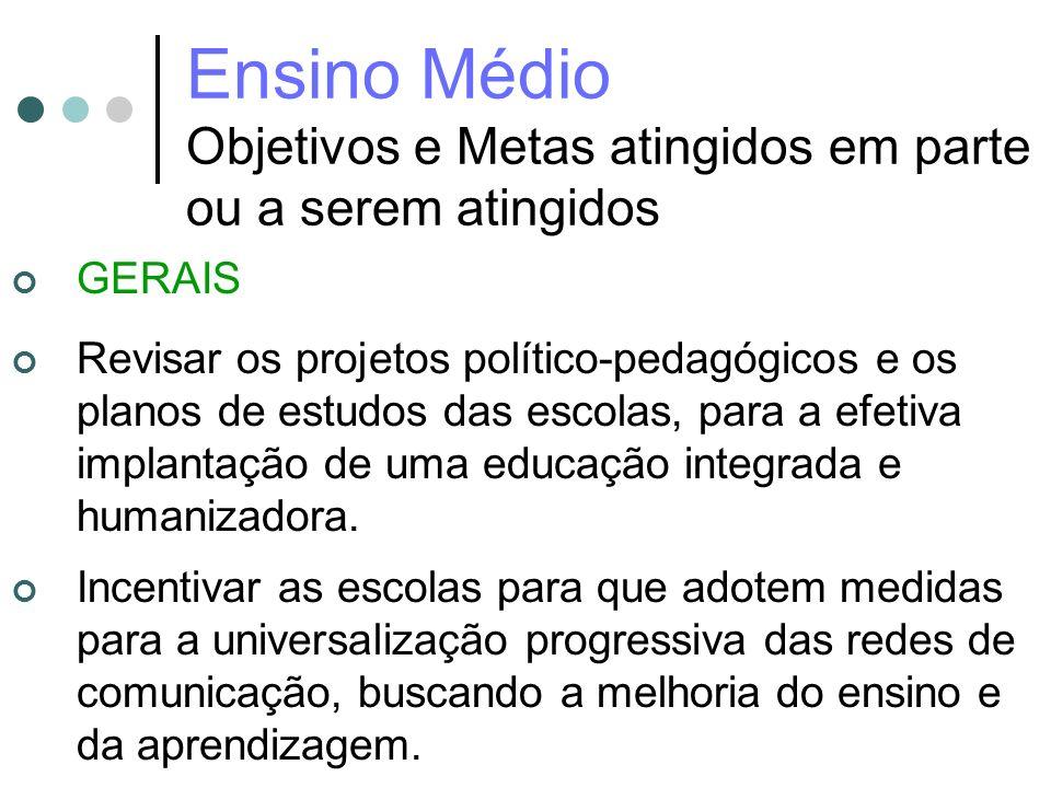 Ensino Médio Objetivos e Metas atingidos em parte ou a serem atingidos GERAIS Revisar os projetos político-pedagógicos e os planos de estudos das esco