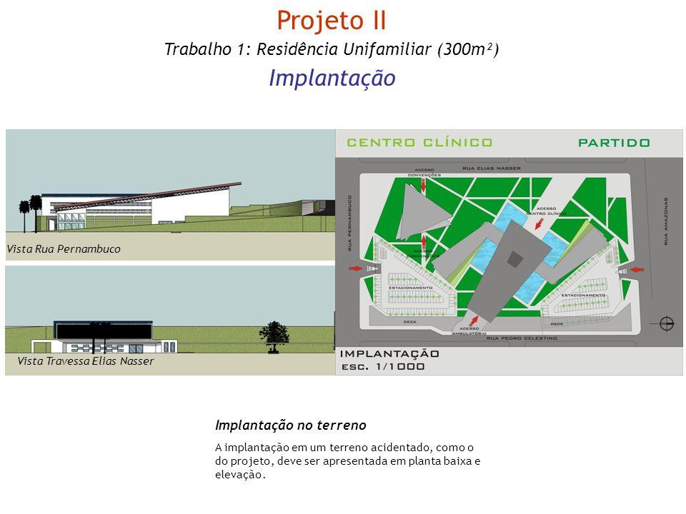 Implantação no terreno A implantação em um terreno acidentado, como o do projeto, deve ser apresentada em planta baixa e elevação. Projeto II Trabalho