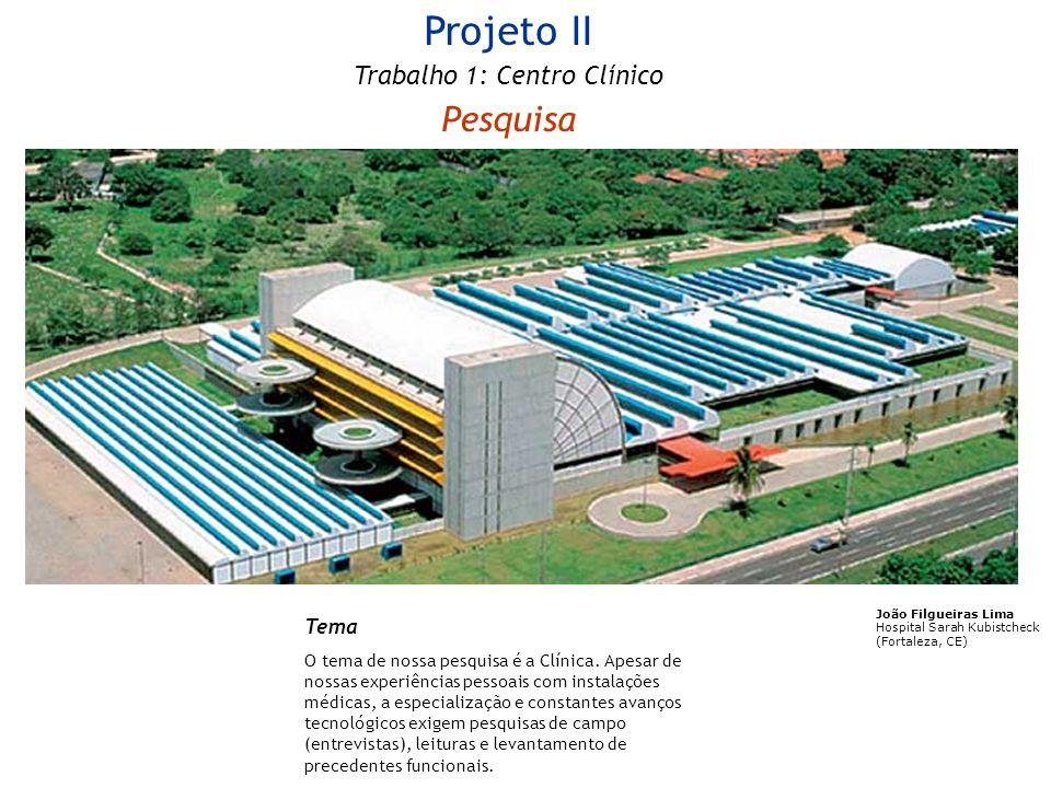 Projeto II Trabalho 1: Centro Clínico Pesquisa Tema O tema de nossa pesquisa é a Clínica. Apesar de nossas experiências pessoais com instalações médic